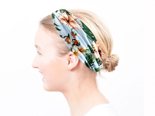 Haarband Flora hellblau