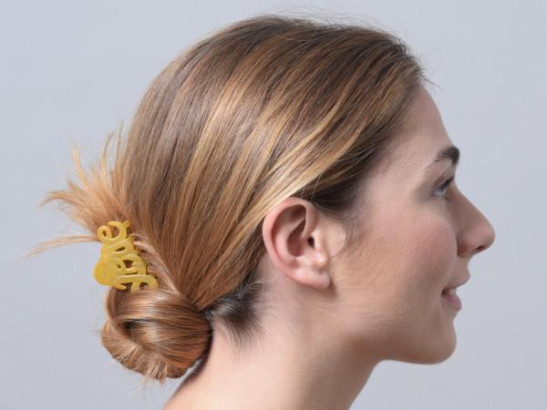 Haarklammer Love gelb klein