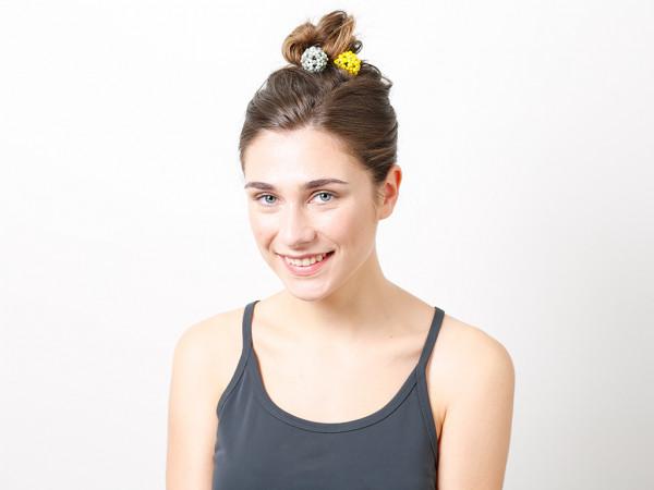 Haargummi Claire gelb-grau